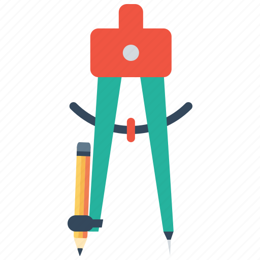 circle, compass, geometry, pen, pencil, tool icon