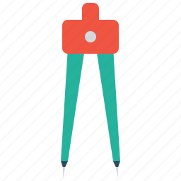 compass, geometry, pen, pencil, round, tool icon