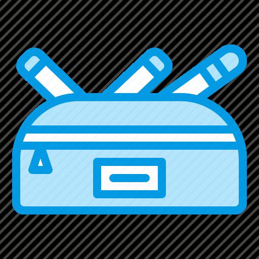 case, pencil, pens, pouch, school, supplies icon
