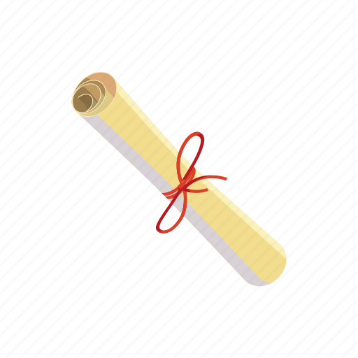 cartoon, certificate, document, paper, ribbon, rolled, scroll icon