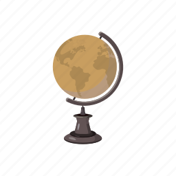 cartoon, earth, education, geography, globe, map, planet icon