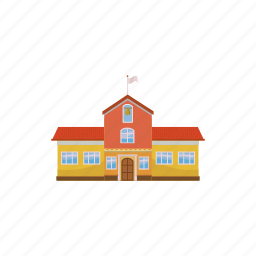 architecture, bell, building, cartoon, college, education, school icon
