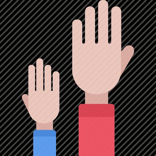 hands, lecture, raised, school, student, study, university icon
