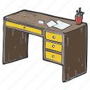 desk, desktop, office, school, working table icon