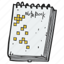 notebook, pad, sketch, sketchbook, writing pad icon