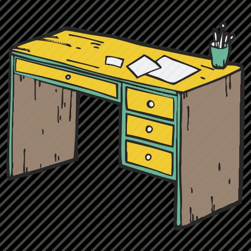 desk, desktop, office, school, table, working table icon