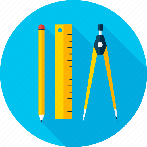 back to school, compass, divider, education, pencil, ruler, school icon