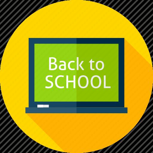 back to school, board, chalk, chalkboard, desk, education, school icon