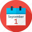 back to school, calendar, date, education, fall, school, september icon