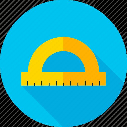 back to school, measure, meter, protractor, ruler, school, tool icon