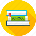 back to school, book, bookmark, library, literature, read, school icon