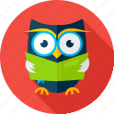 book, knowledge, learn, owl, owlet, read, wisdom icon