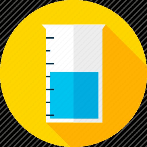 beaker, chemistry, education, glass, laboratory, measure, school icon