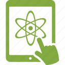 atom, chemistry, classes, education, school, science, tablet icon