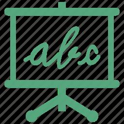 alphabet, education, learning, presentation, reading, school, study icon