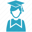 education, graduate, graduation, mortar board, school, schoolboy, student icon
