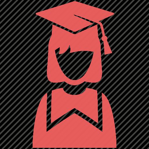 education, graduation, mortar board, school, schoolgirl, student, study icon