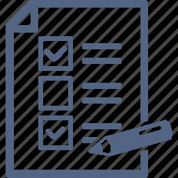 audit, checklist, education, exam, schedule, school test, tasks, to do list icon