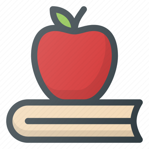 apple, book, education, knowledges, school, studying icon