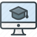 course, desktop, e, elearning, video icon