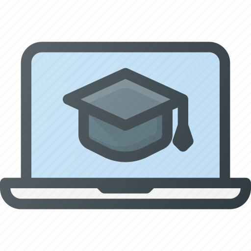 computer, e, laptop, learning, mobil, online course, video icon