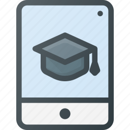 e, knowledge, learning, online course, studying, tablet, video icon