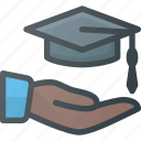 cap, certificate, diploma, graduation, hat, hold, success icon