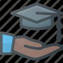 cap, certificate, diploma, graduation, hat, hold, success