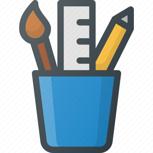 cup, holder, pen, pencil, school, stationery, tools icon