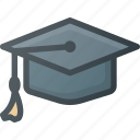 cap, certificate, diploma, graduation, hat, school, success icon