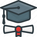 certificate, diploma, graduation, hat, school, student, success icon