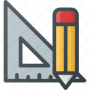 math, measure, rencil, ruler, school, tool icon