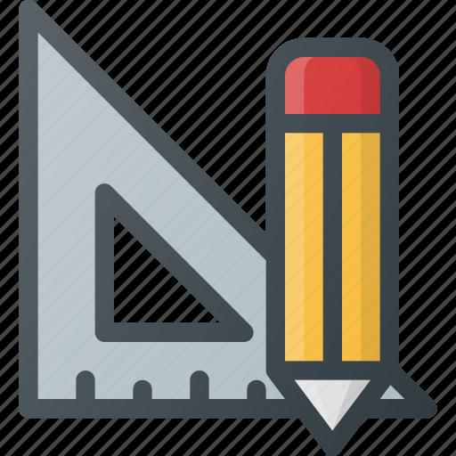 math, measure, rencil, ruler, school, tool icon