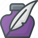 feather, ink, school, write, writing icon