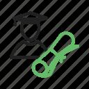 academic, graduate, graduation, hat, male, student, students, university icon