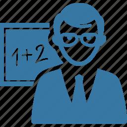 education, math, professor, school teacher icon