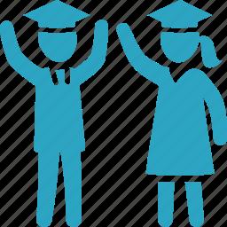 education, graduation, mortar board, school, schoolboy, schoolgirl, student icon