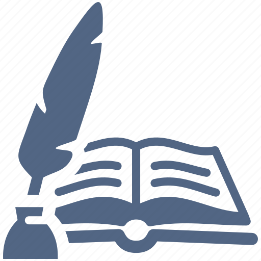 education, feather, ink, library, literature, reading, school book, study icon