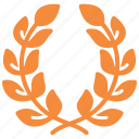 achievement, award, first place, laurel wreath, reputation, victory, winner icon