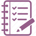 audit, check mark, checklist, education, notebook, tasks, to do list icon