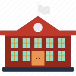 building, design, education, front, school, study icon