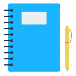 book, design, education, notebook, pen, school icon