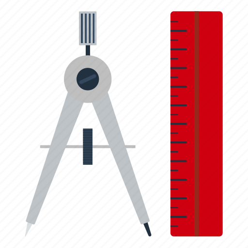 compasses, design, drawing, education, scale, school icon