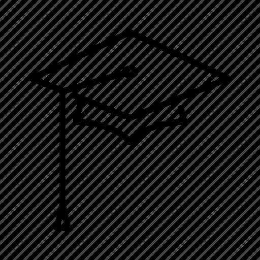 cap, graduation, graduation cap, school, square, square academic cap icon