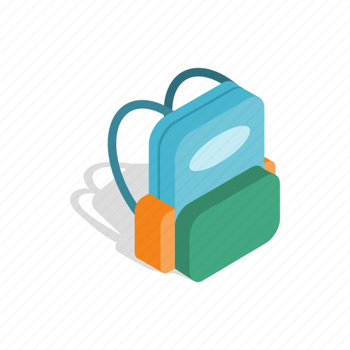 backpack, bag, education, isometric, pack, school, student icon