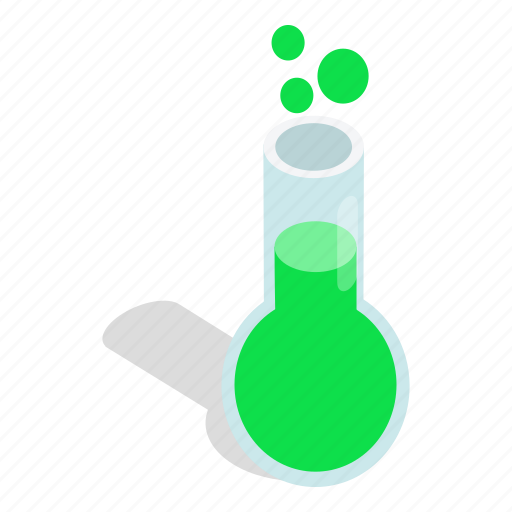 chemical, chemistry, glass, isometric, laboratory, test, tube icon