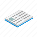book, education, isometric, learning, literature, paper, school icon