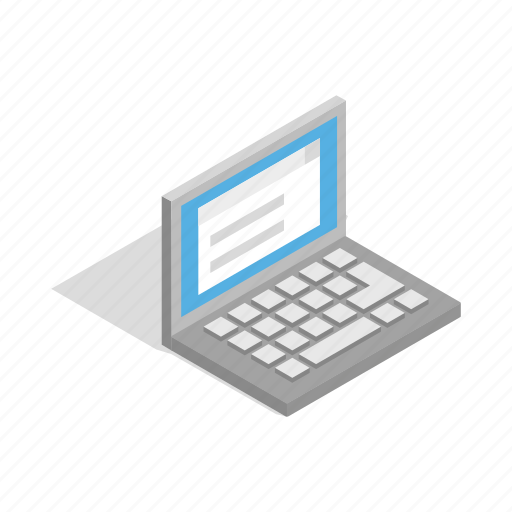 computer, isometric, laptop, modern, notebook, screen icon