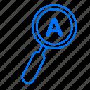 a, education, school, search icon
