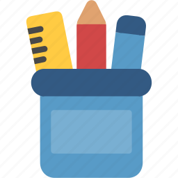 desk, holder, pen, pencil, set icon